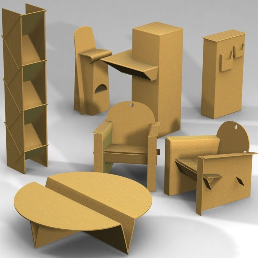 Conjunto de muebles de cartón royalty-free modelo 3d - Preview no. 1