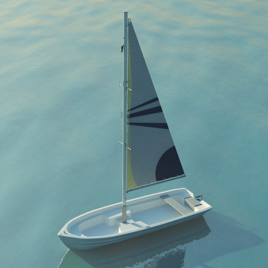 Small sailboat royalty-free 3d model - Preview no. 3