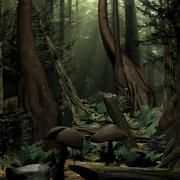 Escena del bosque del árbol modelo 3d