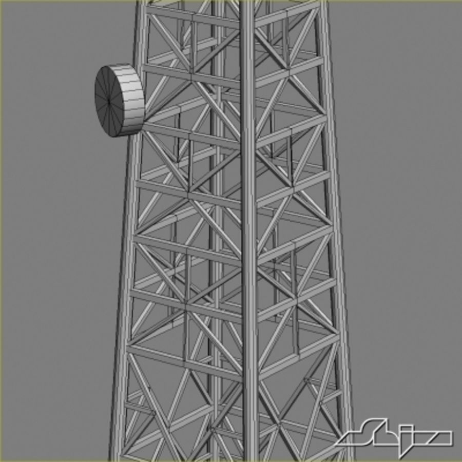 Antenne des Kommunikationsturms royalty-free 3d model - Preview no. 7