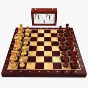 Conjunto de xadrez de madeira 3d model