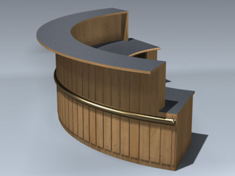 Desk (Reception) royalty-free 3d model - Preview no. 2