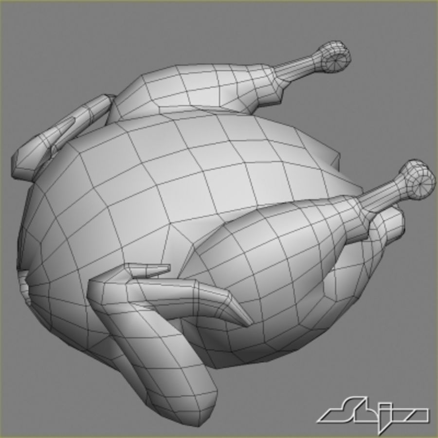 Roast Chicken royalty-free 3d model - Preview no. 6