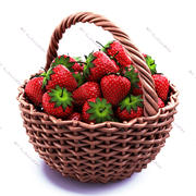 Strawberry in basket 3d model