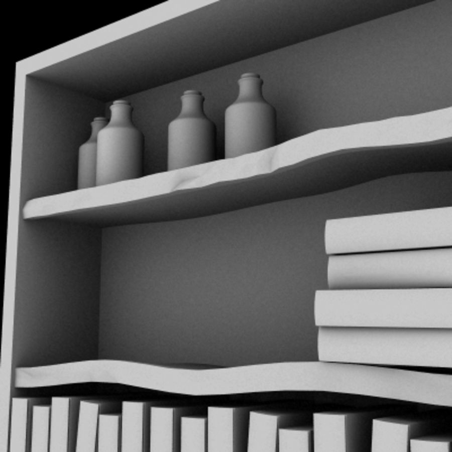 Old Bookshelf royalty-free 3d model - Preview no. 5