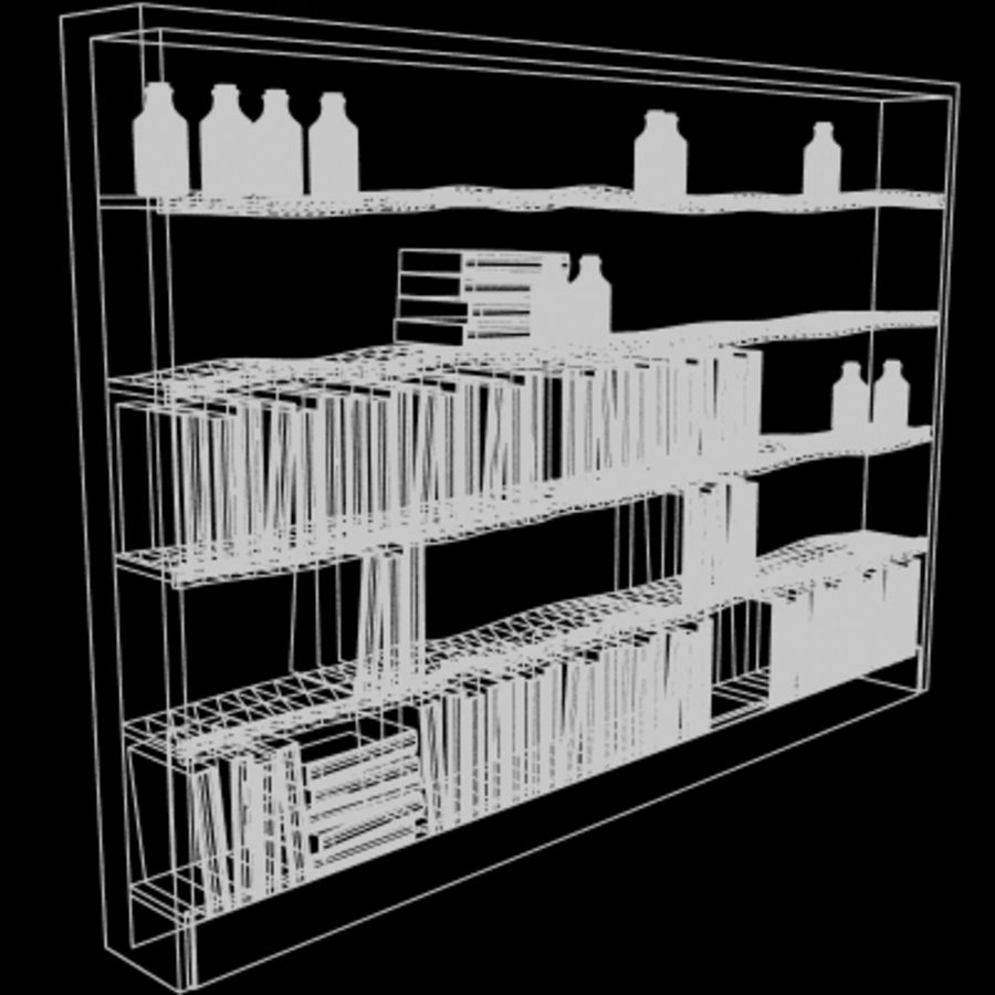 Old Bookshelf royalty-free 3d model - Preview no. 2