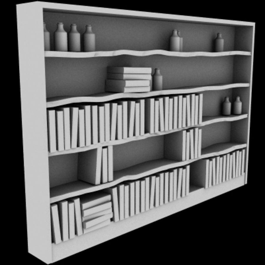 Old Bookshelf royalty-free 3d model - Preview no. 1
