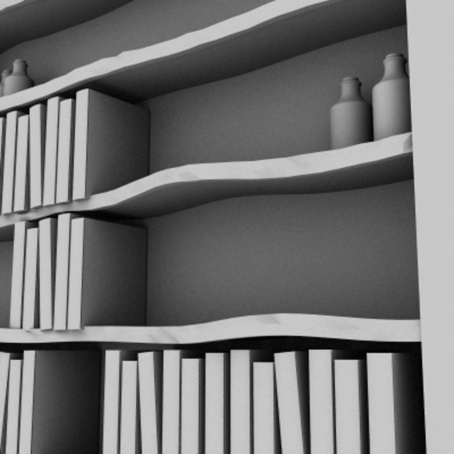 Old Bookshelf royalty-free 3d model - Preview no. 6