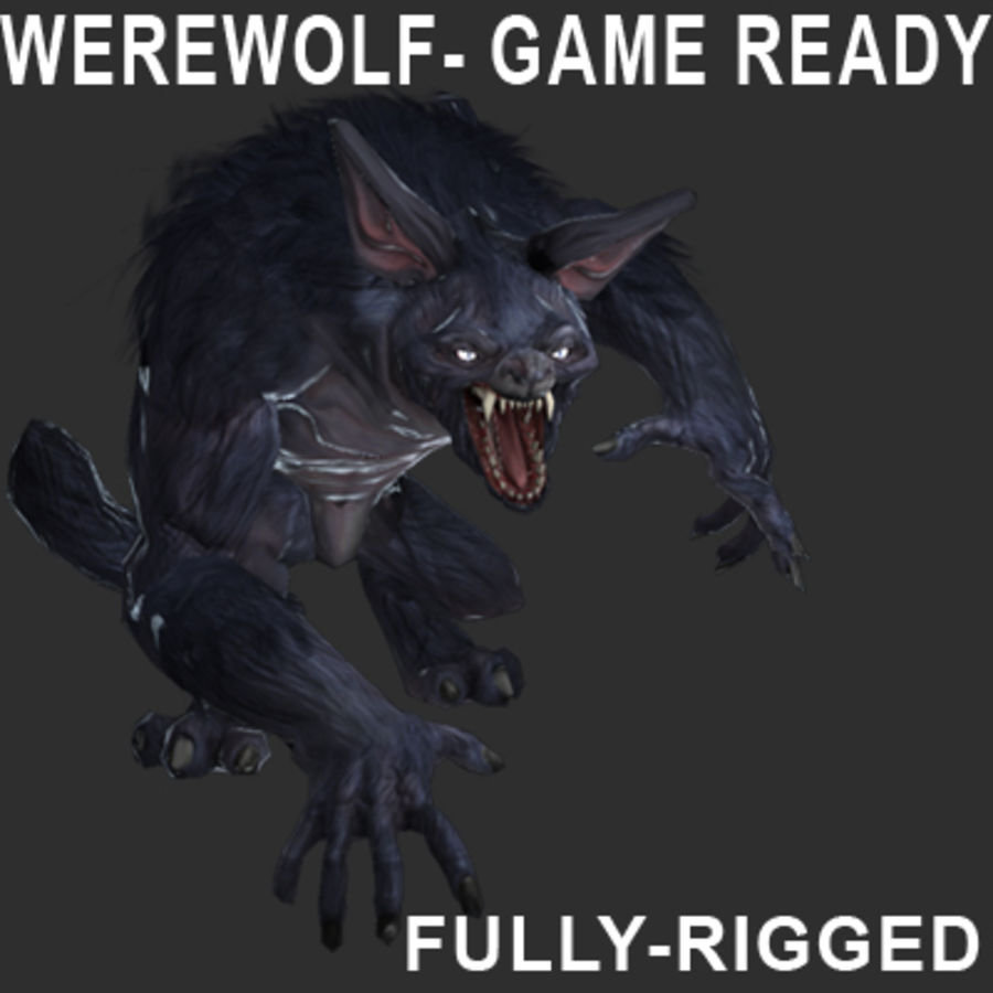 Werewolf -Game Character royalty-free 3d model - Preview no. 1