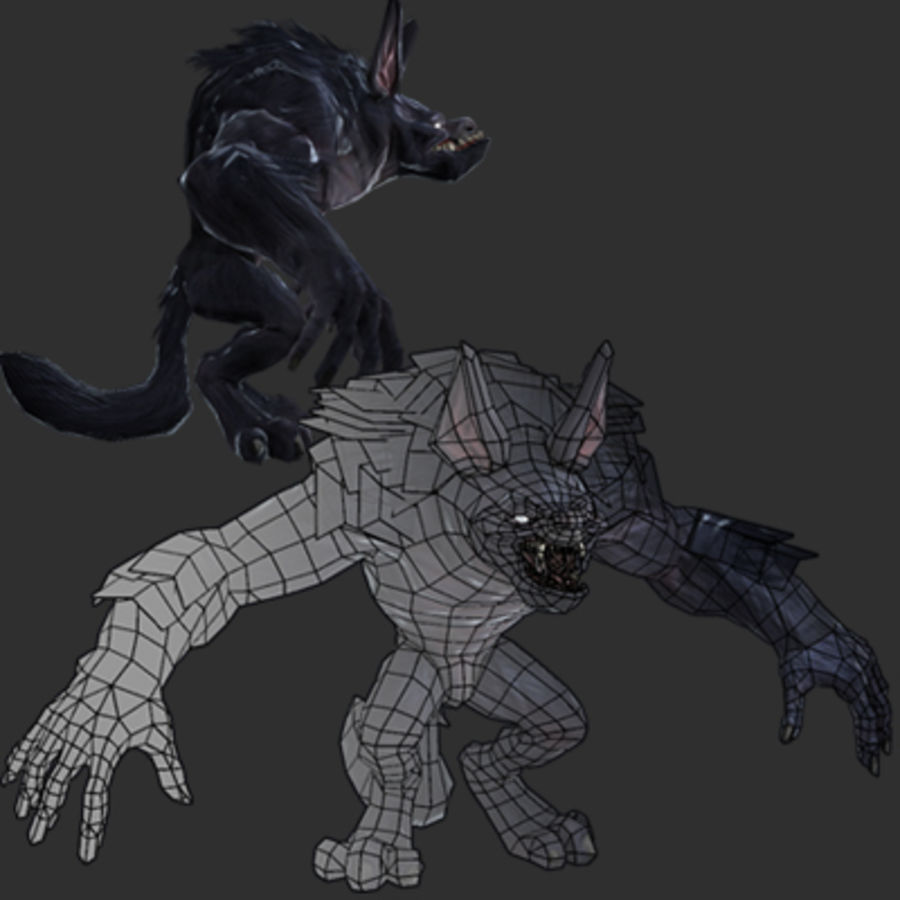 Werewolf -Game Character royalty-free 3d model - Preview no. 3