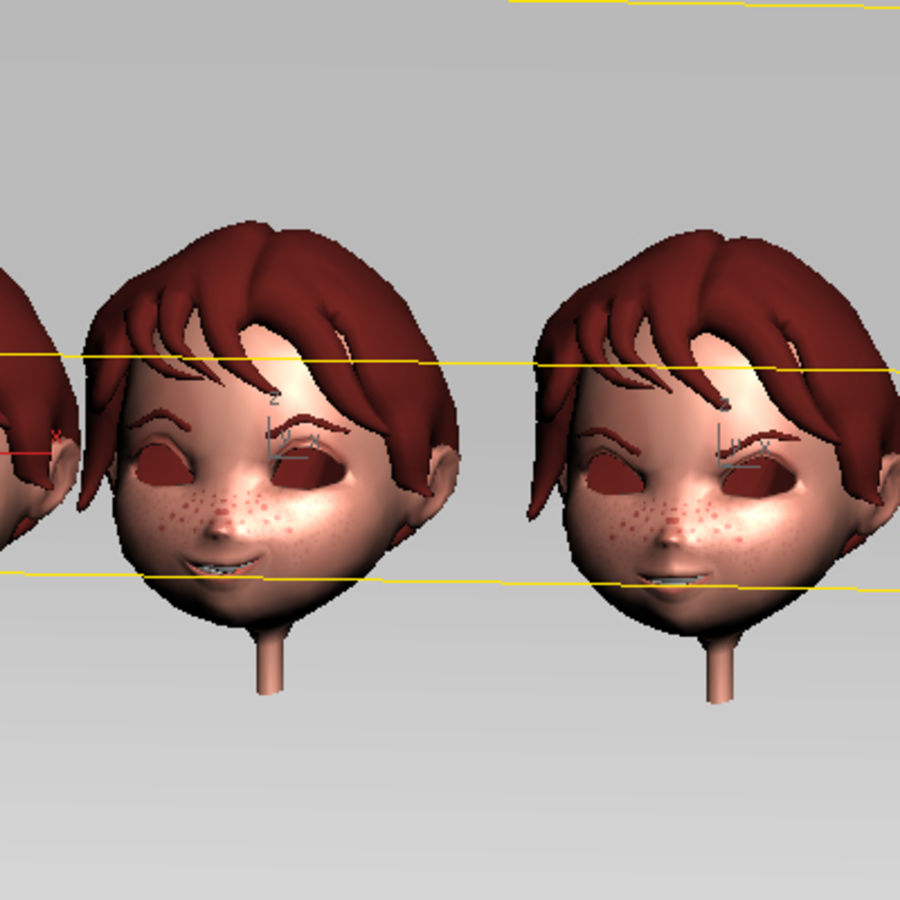 Cartoon boy andy royalty-free 3d model - Preview no. 22