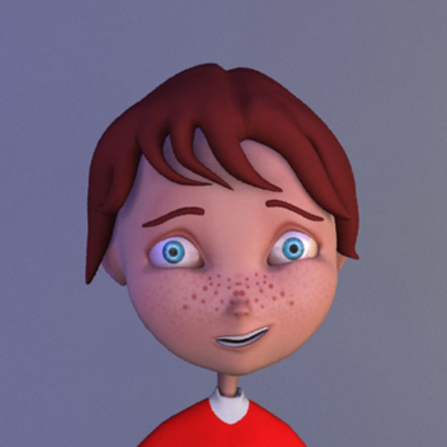 Cartoon boy andy royalty-free 3d model - Preview no. 6