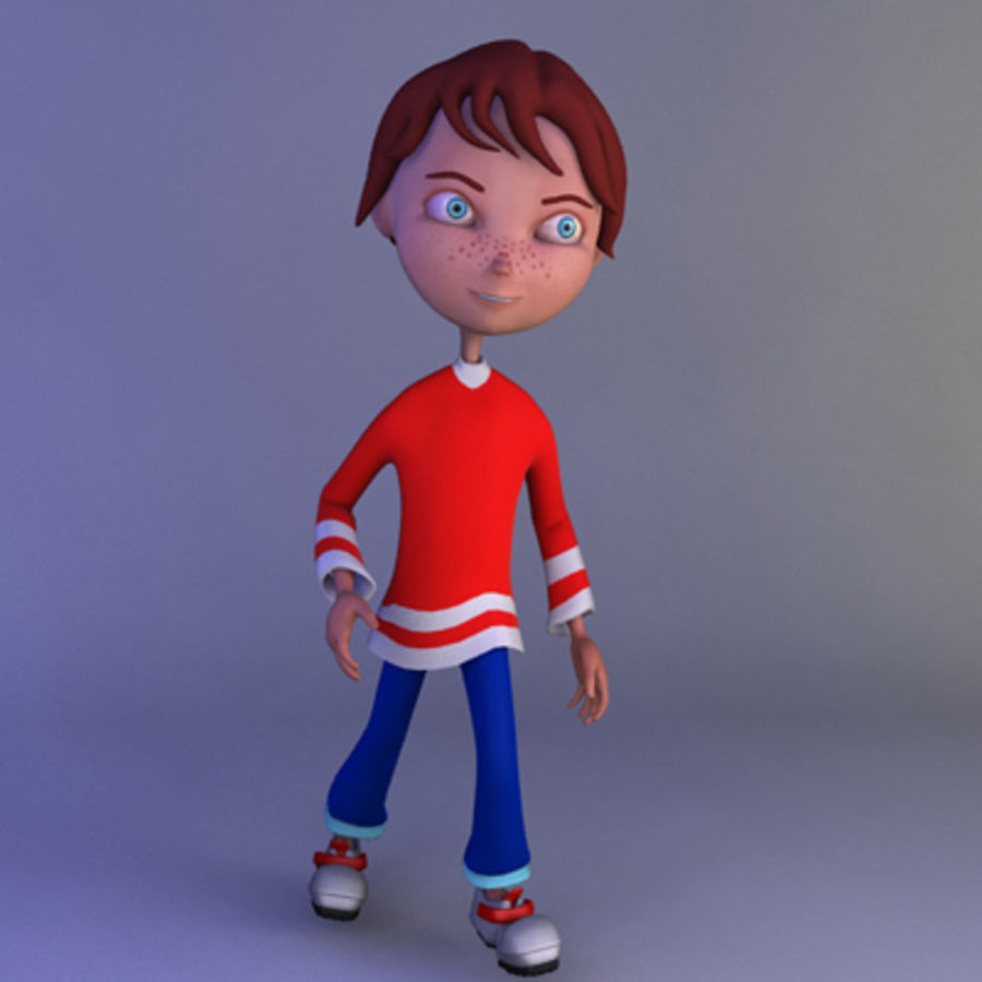 Cartoon boy andy royalty-free 3d model - Preview no. 11