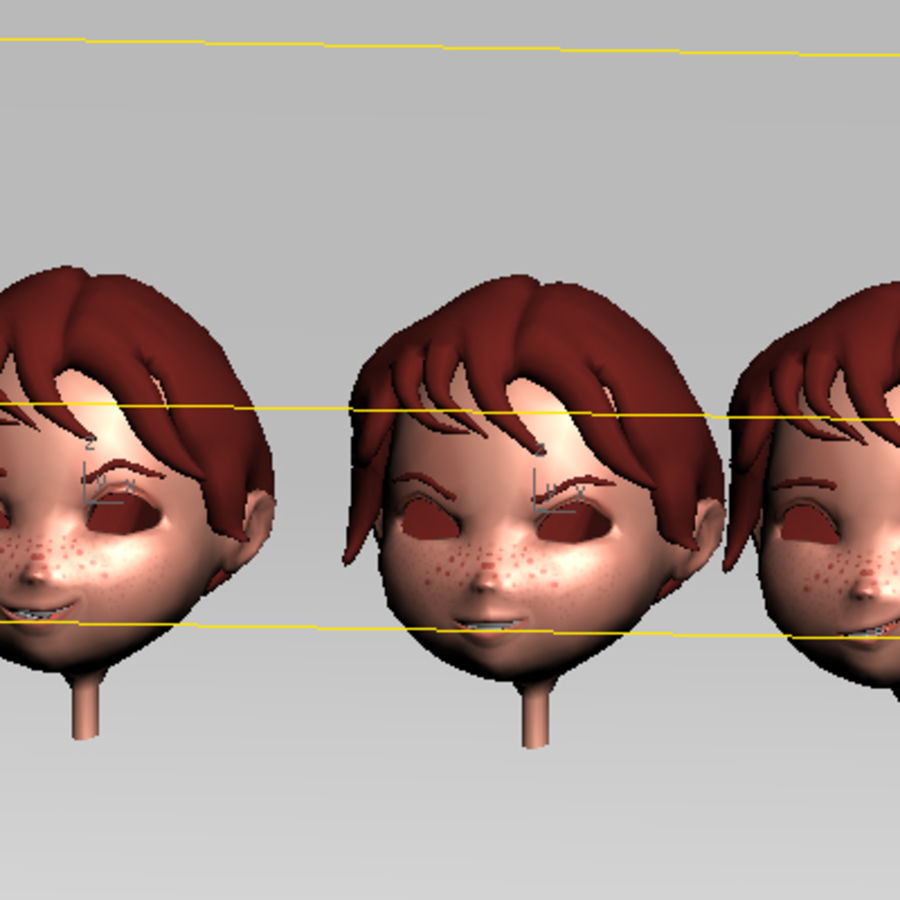 Cartoon boy andy royalty-free 3d model - Preview no. 23