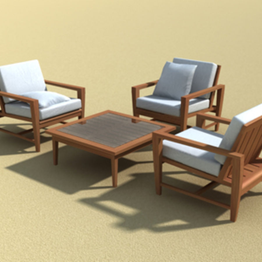 Amalfi Teak Outdoor furniture royalty-free 3d model - Preview no. 10