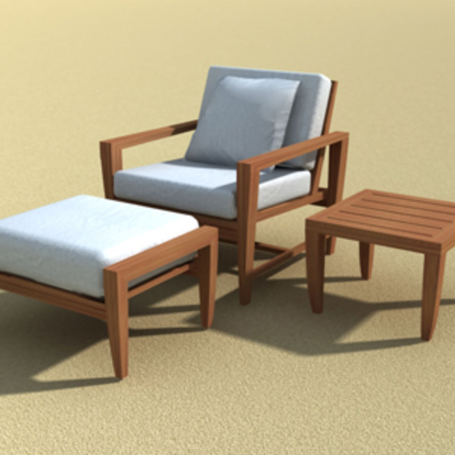 Amalfi Teak Outdoor furniture royalty-free 3d model - Preview no. 8
