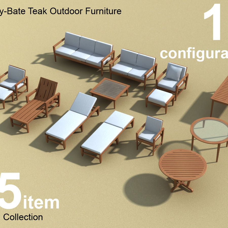 Amalfi Teak Outdoor furniture royalty-free 3d model - Preview no. 1