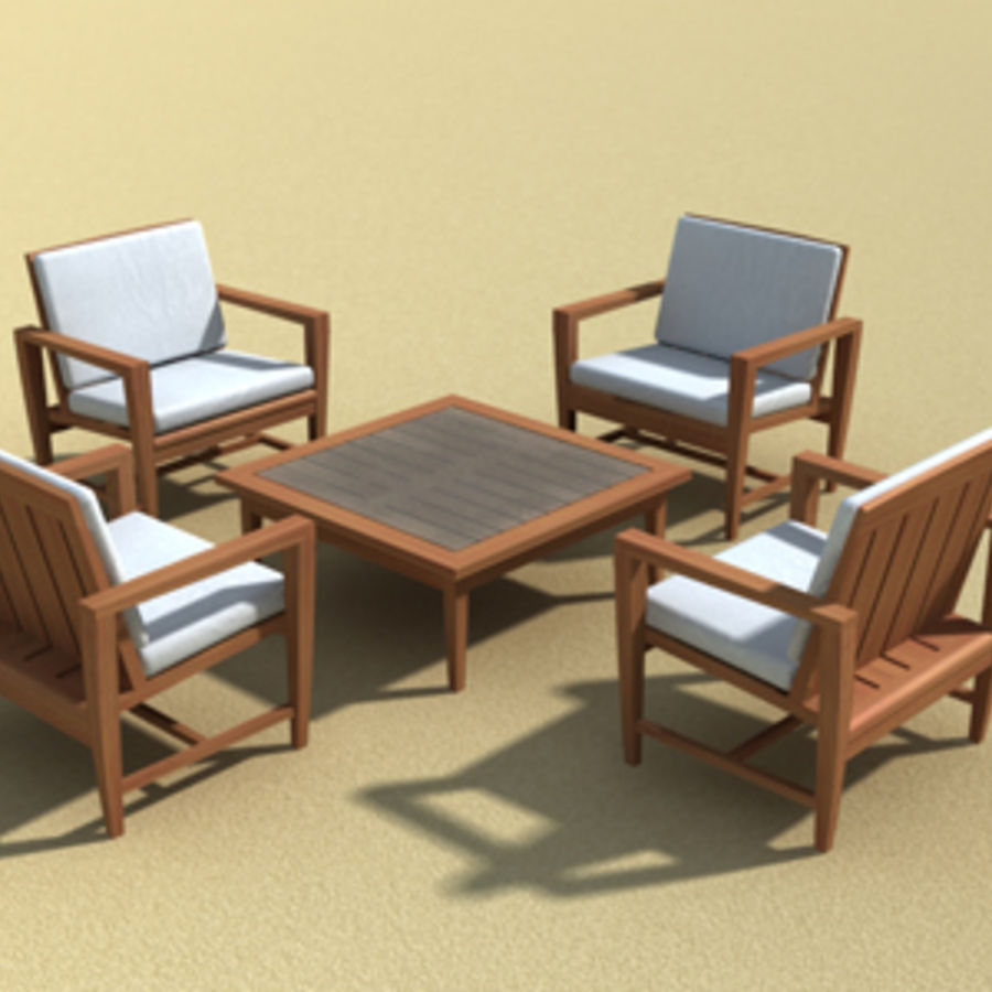 Amalfi Teak Outdoor furniture royalty-free 3d model - Preview no. 3