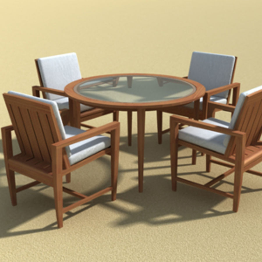 Amalfi Teak Outdoor furniture royalty-free 3d model - Preview no. 4