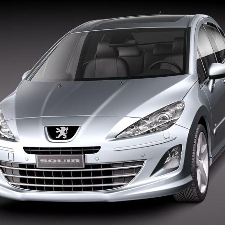 Peugeot 408 sedan 2011 royalty-free 3d model - Preview no. 2