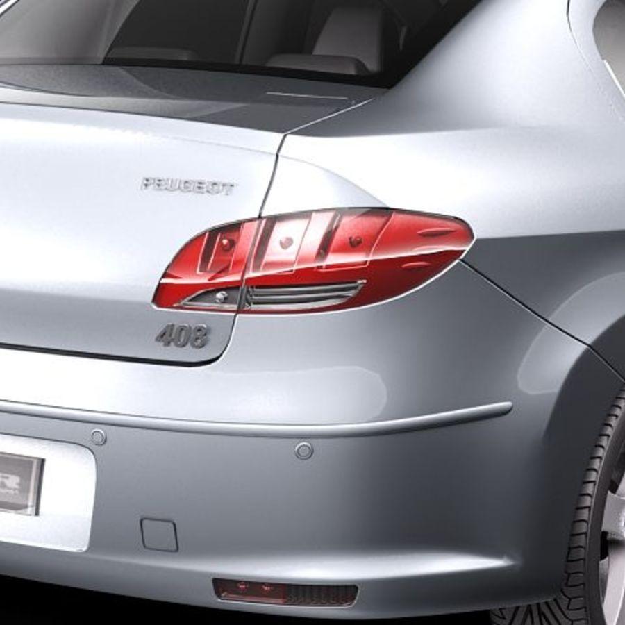 Peugeot 408 sedan 2011 royalty-free 3d model - Preview no. 4