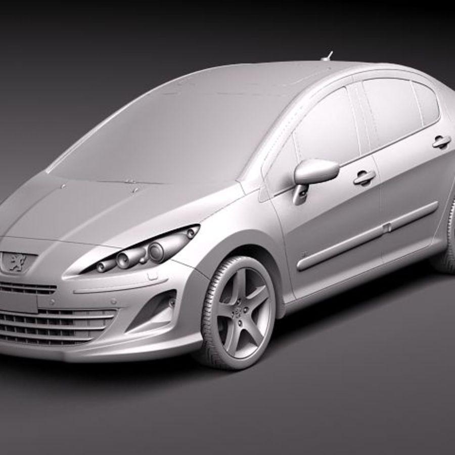 Peugeot 408 sedan 2011 royalty-free 3d model - Preview no. 9