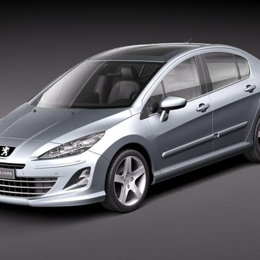 Peugeot 408 sedan 2011 royalty-free 3d model - Preview no. 1