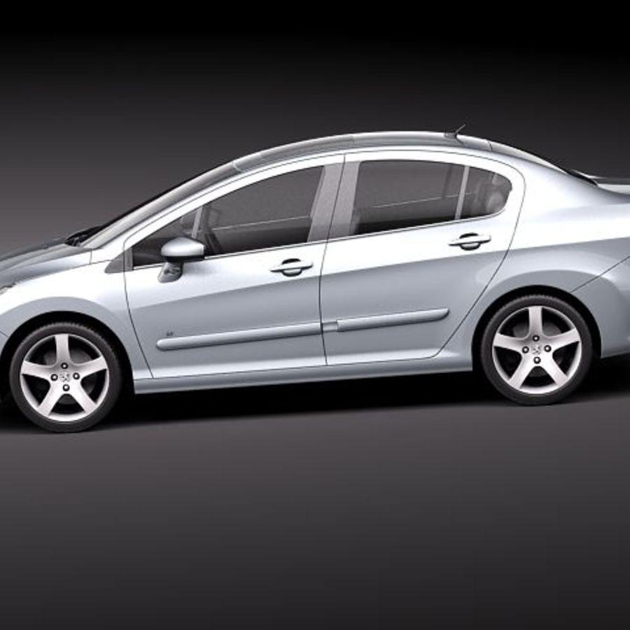 Peugeot 408 sedan 2011 royalty-free 3d model - Preview no. 7