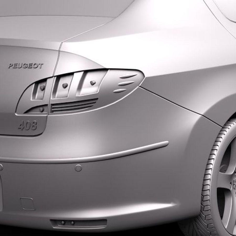 Peugeot 408 sedan 2011 royalty-free 3d model - Preview no. 11