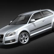 Audi A3 2009 3-deurs Hipoly 3d model