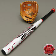 Baseball Glove and Bat baseball 3d model