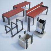 Street furniture set02 3d model