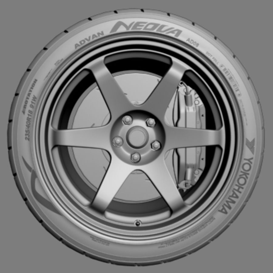 Volk Racing TE37 Wheel royalty-free 3d model - Preview no. 2