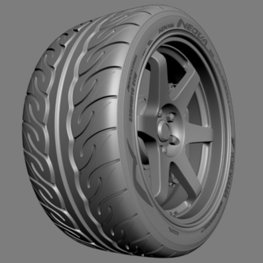 Volk Racing TE37 Wheel royalty-free 3d model - Preview no. 3
