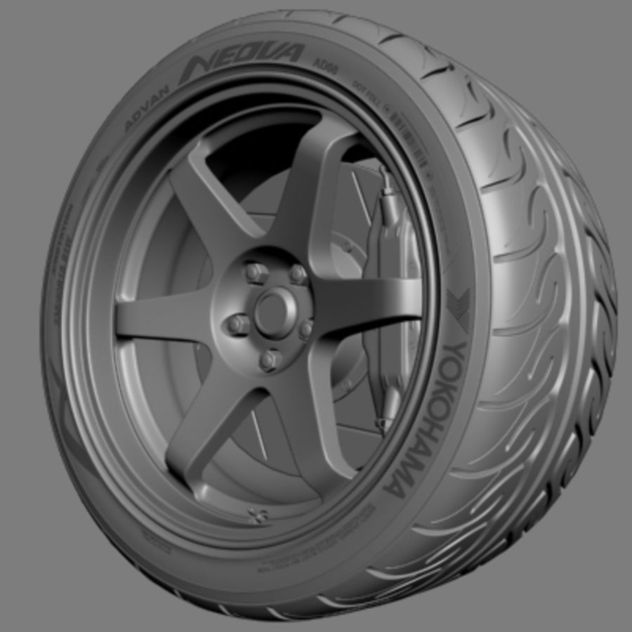 Volk Racing TE37 Wheel royalty-free 3d model - Preview no. 4