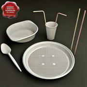 Disposable Tableware Collection 3d model