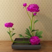 peony in flowerpot 3d model