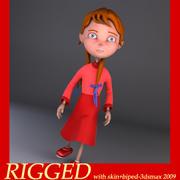 menina dos desenhos animados Annabellaa 3d model