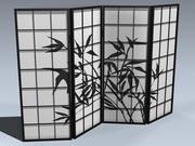 Ekran Shoji (4 panele) 3d model