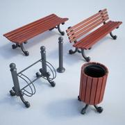 Mobília de rua set01 3d model