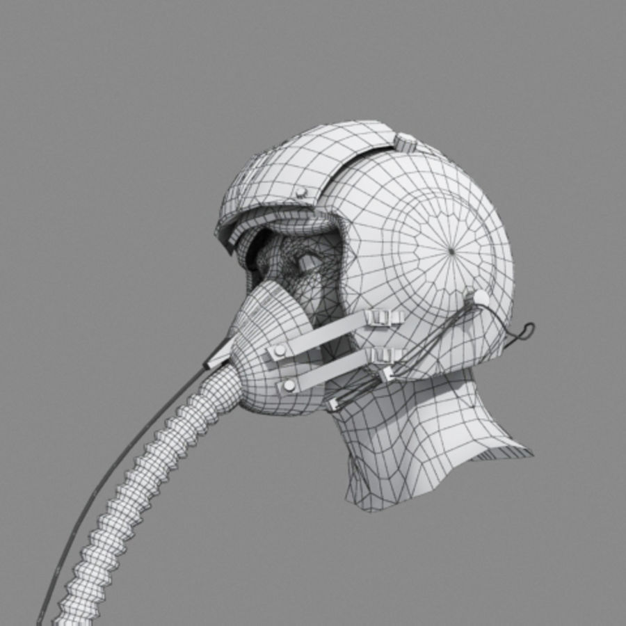 pilot helmet royalty-free 3d model - Preview no. 4
