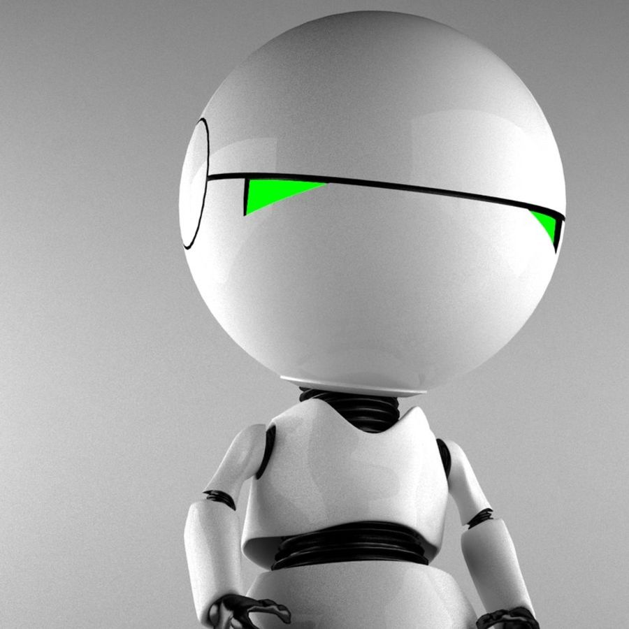 Marvin The Paranoid Android royalty-free 3d model - Preview no. 4