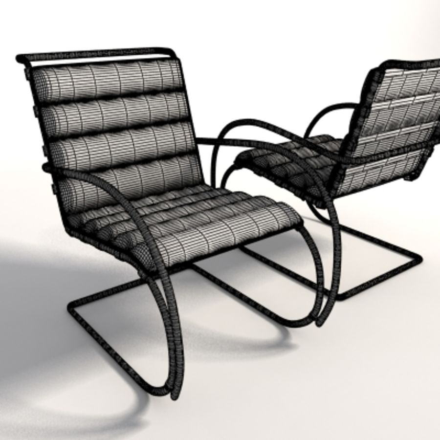 Fotel Mies Van Der Rohe MR Lounge royalty-free 3d model - Preview no. 9