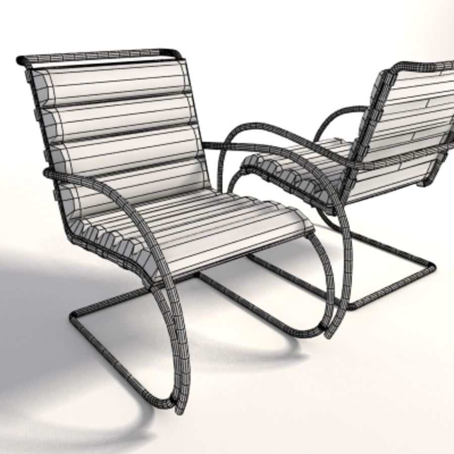 Fotel Mies Van Der Rohe MR Lounge royalty-free 3d model - Preview no. 11