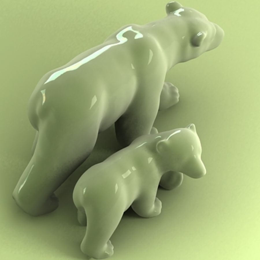 polar bear and cub royalty-free 3d model - Preview no. 3