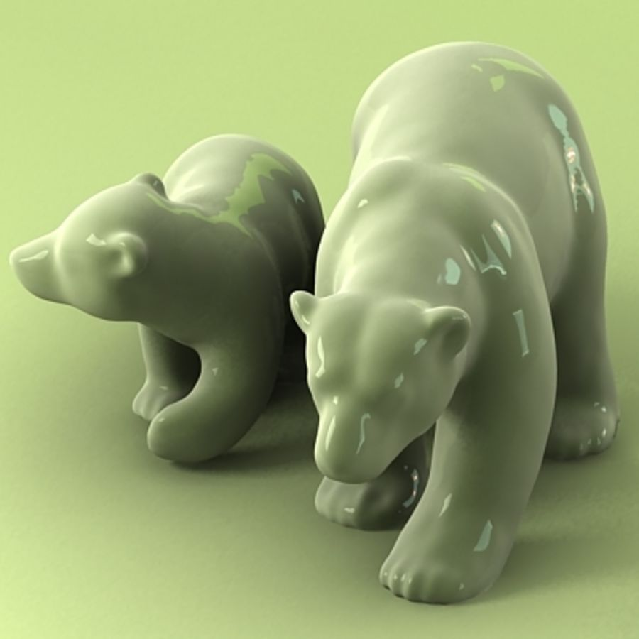 polar bear and cub royalty-free 3d model - Preview no. 2
