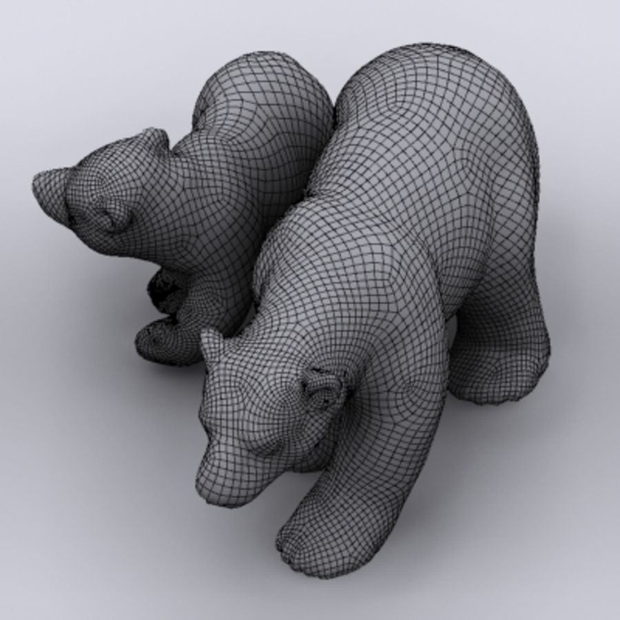 polar bear and cub royalty-free 3d model - Preview no. 7