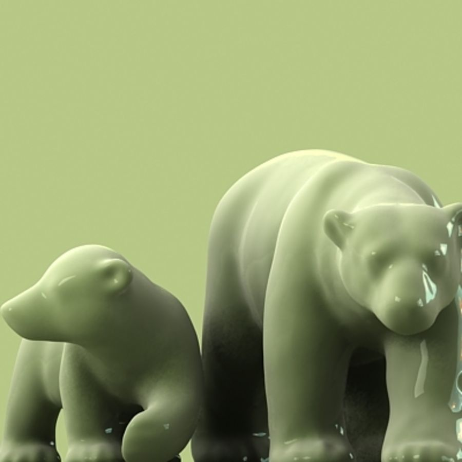 polar bear and cub royalty-free 3d model - Preview no. 1