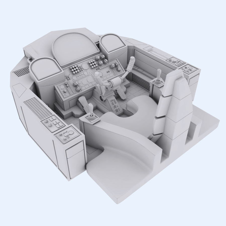 Cockpit A (old version) royalty-free 3d model - Preview no. 2