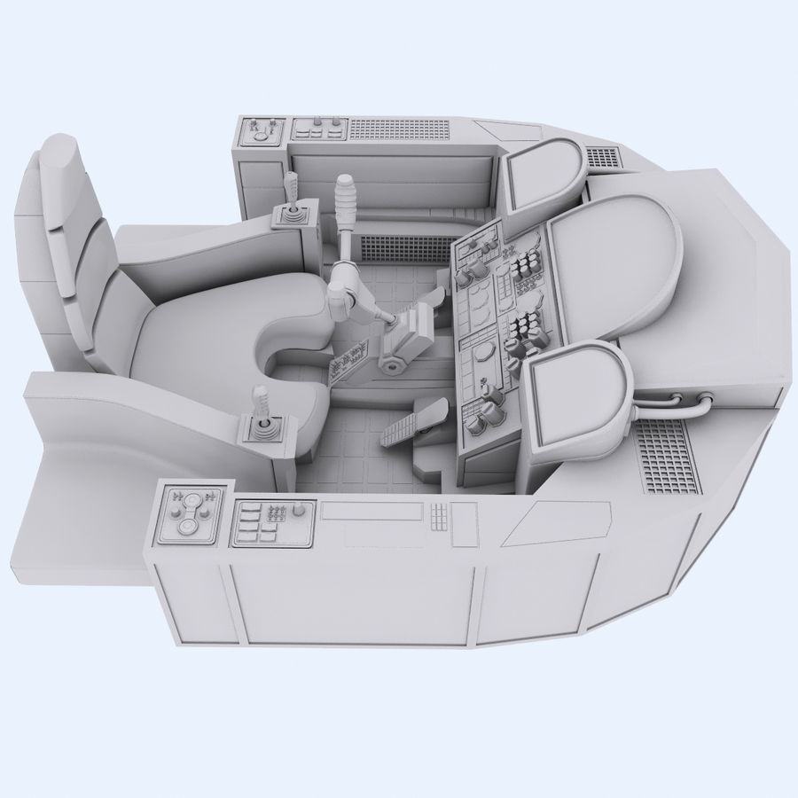 Cockpit A (old version) royalty-free 3d model - Preview no. 6